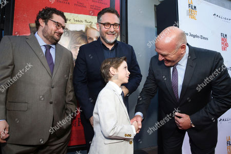 "Bobby Moynihan, Jacob Tremblay, Director Colin Trevorrow and Dean Norris seen at Focus Features ""The Book of Henry"" Premiere at 2017 Los Angeles Film Festival, in Culver City, Calif"