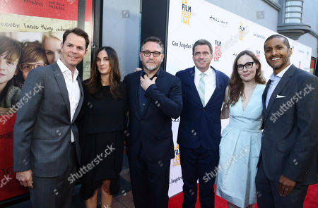 """Stock Picture of Jason Cassidy, President of Marketing for Focus Features, Producer Carla Hacken, Director Colin Trevorrow, Josh Welsh, President of Film Independent, Jennifer Cochis, Director of the Los Angeles Film Festival, and Abhijay Prakash, COO of Focus Features, seen at Focus Features """"The Book of Henry"""" Premiere at 2017 Los Angeles Film Festival, in Culver City, Calif"""
