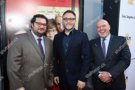 "Bobby Moynihan, Director Colin Trevorrow and Dean Norris seen at Focus Features ""The Book of Henry"" Premiere at 2017 Los Angeles Film Festival, in Culver City, Calif"