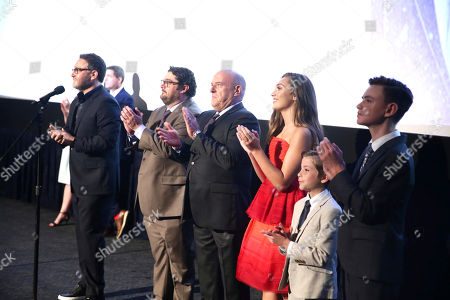 "Stock Picture of Director Colin Trevorrow, Bobby Moynihan, Dean Norris, Maddie Ziegler, Jacob Tremblay and Jaeden Lieberher speak at Focus Features ""The Book of Henry"" Premiere at 2017 Los Angeles Film Festival, in Culver City, Calif"