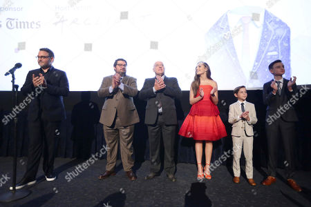 "Director Colin Trevorrow, Bobby Moynihan, Dean Norris, Maddie Ziegler, Jacob Tremblay and Jaeden Lieberher speak at Focus Features ""The Book of Henry"" Premiere at 2017 Los Angeles Film Festival, in Culver City, Calif"