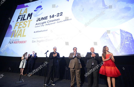 "Jennifer Cochis, Director of the Los Angeles Film Festival, Josh Welsh, President of Film Independent, Director Colin Trevorrow, Bobby Moynihan, Dean Norris and Maddie Ziegler speak at Focus Features ""The Book of Henry"" Premiere at 2017 Los Angeles Film Festival, in Culver City, Calif"