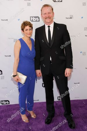 """Morgan Spurlock, right, and guest arrive for """"Full Frontal with Samantha Bee's Not the White House Correspondents' Dinner"""" held at DAR Constitution Hall on Saturday, April, 29, 2017, in Washington"""