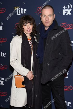Stock Picture of Actor Ewan McGregor and wife Eve Mavrakis attend FX's 2017 All-Star Upfront event at the SVA Theatre, in New York