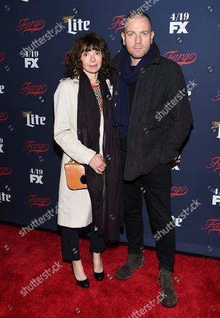 Actor Ewan McGregor, right, and wife Eve Mavrakis attend FX's 2017 All-Star Upfront event at the SVA Theatre, in New York