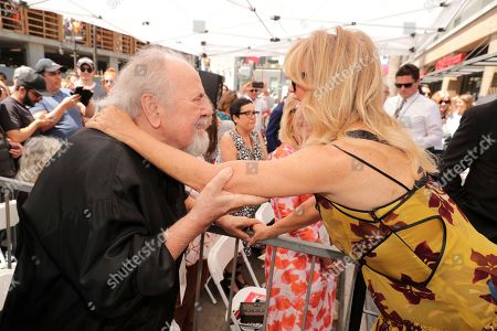 George Schlatter and Goldie Hawn seen at Goldie Hawn and Kurt Russell honored with a double star ceremony on the Hollywood Walk of Fame, in Los Angeles