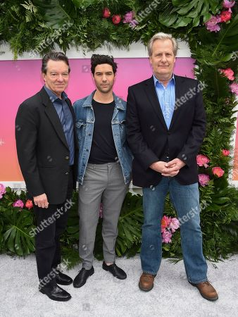 Actors Lawrence Wright, from left, Tahar Rahim and Jeff Daniels attend the Hulu 2017 Upfront Presentation at La Sirena on in New York