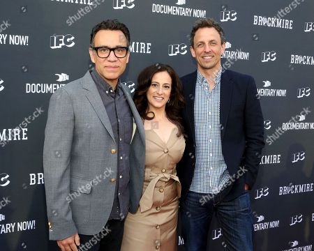 Fred Armisen, from left, IFC President Jennifer Caserta, and Seth Meyers attend the IFC FYC Brockmire & Documentary Now! panel at Saban Media Center, in North Hollywood, Calif