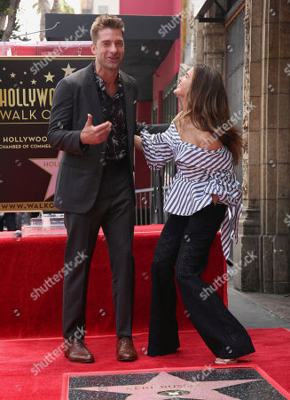 """Scott Speedman, left, and Keri Russell, who starred in the series """"Felicity,"""" joke at ta ceremony honoring her with a star on the Hollywood Walk of Fame, in Los Angeles"""