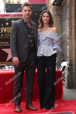 Scott Speedman, left, and Keri Russell pose at the Star on the Hollywood Walk of Fame ceremony, in Los Angeles