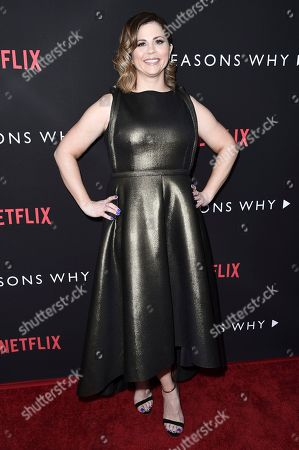 """Mandy Teefey attends the LA premiere of """"13 Reasons Why"""" at Paramount Pictures Studio, in Los Angeles"""