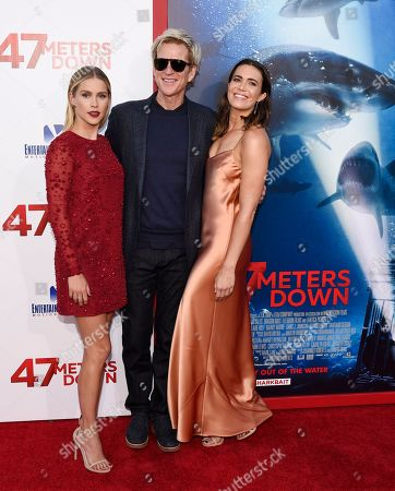 "Claire Holt, from left, Matthew Modine and Mandy Moore, cast members in ""47 Meters Down,"" pose together at the premiere of the film at the Regency Village Theatre, in Los Angeles"