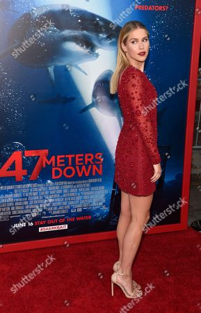 "Claire Holt, a cast member in ""47 Meters Down,"" arrives at the premiere of the film at the Regency Village Theatre, in Los Angeles"
