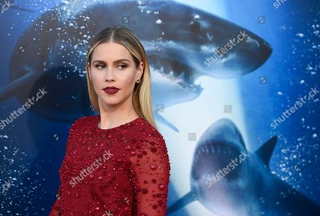 "Claire Holt, a cast member in ""47 Meters Down,"" poses at the premiere of the film at the Regency Village Theatre, in Los Angeles"