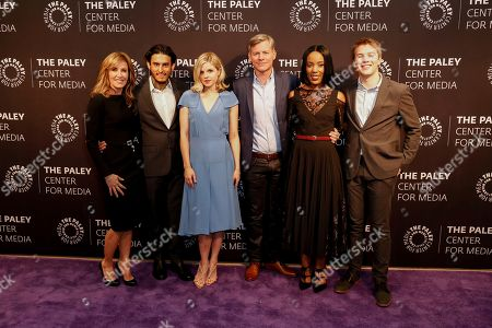 """Felicity Huffman, from left, Richard Cabral, Ana Mulvoy-Ten, Michael McDonald, Mickaelle X. Bizet, and Connor Jessup arrive at the LA Premiere of """"American Crime"""" Season 3 at The Paley Center for Media, in Beverly Hills, Calif"""