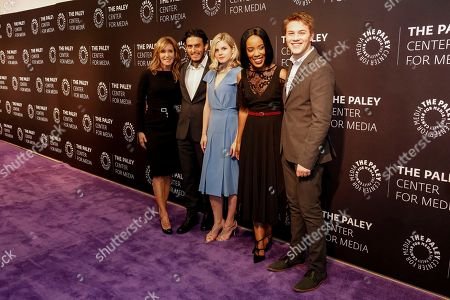 """Felicity Huffman, from left, Richard Cabral, Ana Mulvoy-Ten, Mickaëlle X. Bizet, and Connor Jessup arrive at the LA Premiere of """"American Crime"""" Season 3 at The Paley Center for Media, in Beverly Hills, Calif"""