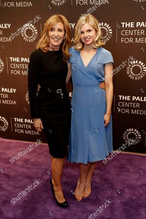 """Felicity Huffman, left, and Ana Mulvoy-Ten arrive at the LA Premiere of """"American Crime"""" Season 3 at The Paley Center for Media, in Beverly Hills, Calif"""