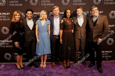 """Felicity Huffman, from left, Richard Cabral, Ana Mulvoy-Ten, Michael McDonald, Mickaëlle X. Bizet, Connor Jessup, and Jim Halterman arrive at the LA Premiere of """"American Crime"""" Season 3 at The Paley Center for Media, in Beverly Hills, Calif"""