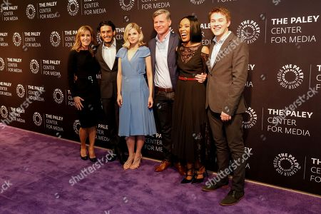 """Felicity Huffman, from left, Richard Cabral, Ana Mulvoy-Ten, Michael McDonald, Mickaëlle X. Bizet, and Connor Jessup arrive at the LA Premiere of """"American Crime"""" Season 3 at The Paley Center for Media, in Beverly Hills, Calif"""