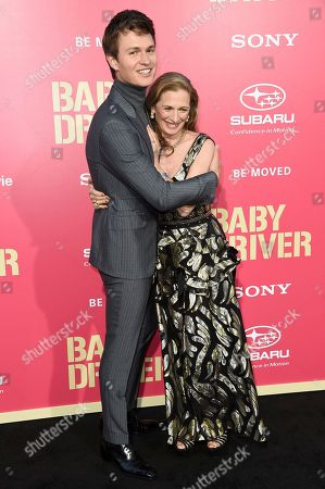 """Ansel Elgort and Grethe Barrett Holby attend the LA premiere of """"Baby Driver"""" at the Ace Hotel, in Los Angeles"""