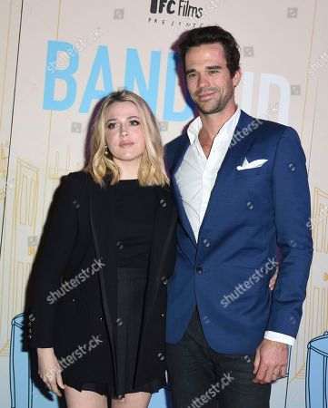 "Majandra Delfino, left, and David Walton arrive at the Los Angeles premiere of ""Band Aid"" at the Theater at the Ace Hotel on"