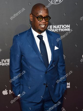 """Andre Harrell arrives at the Los Angeles premiere of """"Can't Stop, Won't Stop: A Bad Boy Story"""" at the Writers Guild Theater, in Beverly Hills, Calif"""