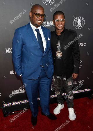 """Andre Harrell, left, and Gianni Harrell arrive at the Los Angeles premiere of """"Can't Stop, Won't Stop: A Bad Boy Story"""" at the Writers Guild Theater, in Beverly Hills, Calif"""