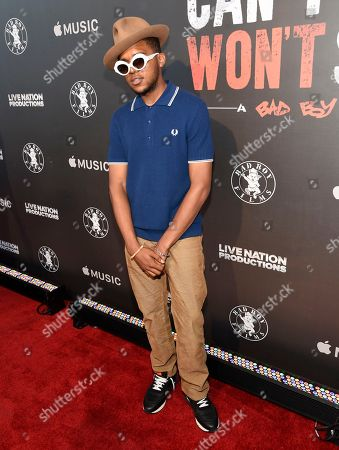 """Christopher Jordan Wallace arrives at Los Angeles premiere of """"Can't Stop, Won't Stop: A Bad Boy Story"""" at the Writers Guild Theater, in Beverly Hills, Calif"""