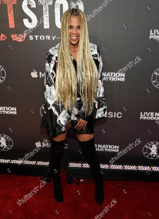 """Laurieann Gibson arrives at the Los Angeles premiere of """"Can't Stop, Won't Stop: A Bad Boy Story"""" at the Writers Guild Theater, in Beverly Hills, Calif"""