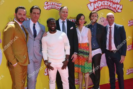 """Nick Kroll, from left, Ed Helms, Kevin Hart, Dav Pilkey, Kristen Schaal, Thomas Middleditch and David Soren arrive at the LA Premiere of """"Captain Underpants: The First Epic Movie"""" at the Regency Village Theatre, in Los Angeles"""