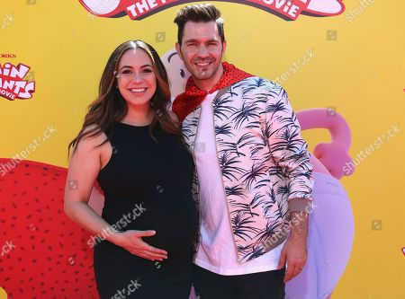 """Aijia Lise, left, and Andy Grammer arrive at the LA Premiere of """"Captain Underpants: The First Epic Movie"""" at the Regency Village Theatre, in Los Angeles"""
