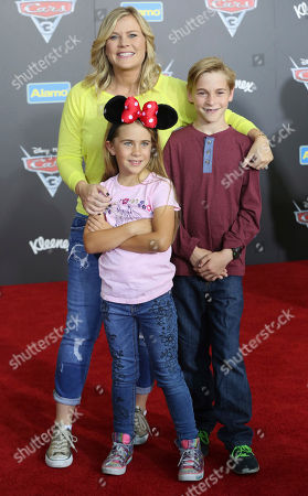 "Benjamin Sanov, from left, Alison Sweeney and Megan Sanov arrive at the LA Premiere of ""Cars 3"", in Anaheim, Calif"
