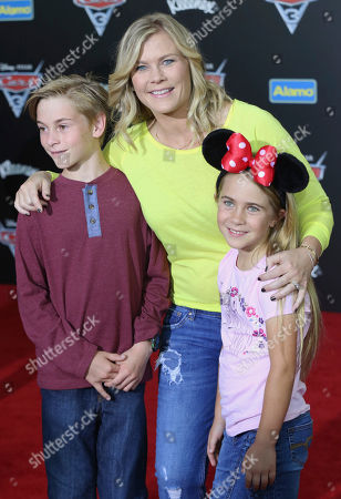 "Stock Picture of Benjamin Sanov, from left, Alison Sweeney and Megan Sanov arrive at the LA Premiere of ""Cars 3"", in Anaheim, Calif"