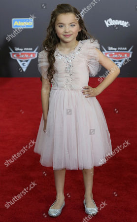 """Madeleine McGraw arrives at the LA Premiere of """"Cars 3"""", in Anaheim, Calif"""