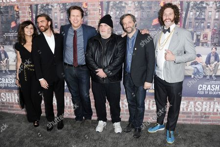 "Gina Gershon, from left, George Basil, Pete Holmes, Artie Lange, Judd Apatow and T.J. Miller attend the LA Premiere of ""Crashing at Avalon Hollywood, in Los Angeles"