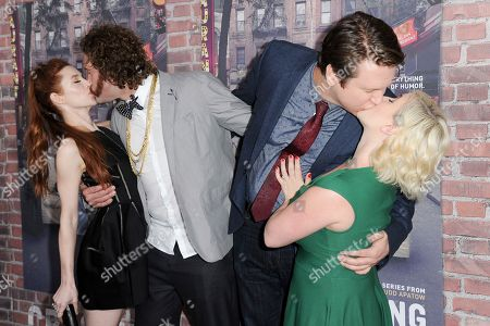"""Kate Gorney, from left, TJ Miller, Pete Holmes and Valerie Chaney attend the LA Premiere of """"Crashing at Avalon Hollywood, in Los Angeles"""