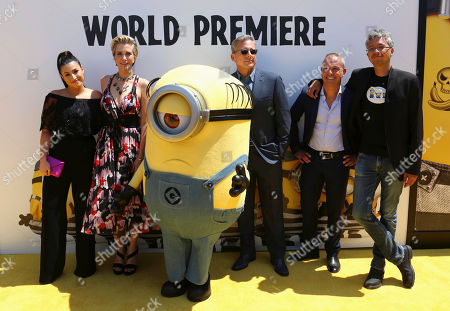 "Dana Gaier, from left, Kristen Wiig, Steve Carell, Kyle Balda and Eric Guillon arrive at the World Premiere of ""Despicable Me 3"" at the Shrine Auditorium, in Los Angeles"