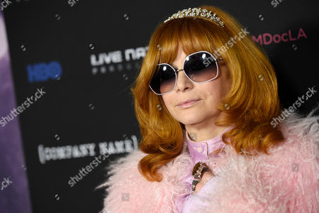 "Linda Ramone poses at the premiere of the film ""Eagles of Death Metal: Nos Amis (Our Friends),"" at the Avalon Hollywood, in Los Angeles"