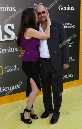 """Sheila Kelley, left, and Richard Schiff arrive at the LA Premiere of """"Genius"""" at the Fox Theatre at Westwood Village, in Los Angeles"""