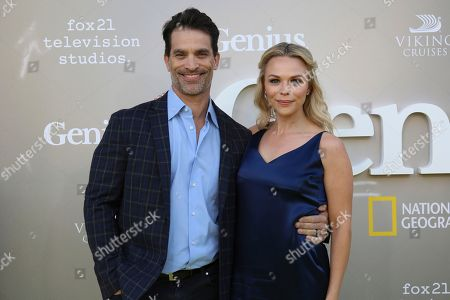 "Johnathon Schaech, left, and Julie Solomon arrive at the LA Premiere of ""Genius"" at the Fox Theatre at Westwood Village, in Los Angeles"