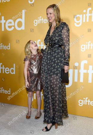 """Mckenna Grace, left, and Karen Lunder arrive at the Los Angeles premiere of """"Gifted"""" at the Pacific Theatres at the Grove on"""