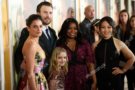 "Stock Photo of Jenny Slate, from left, Chris Evans, Mckenna Grace, Octavia Spencer and Jona Xiao arrives at the Los Angeles premiere of ""Gifted"" at the Pacific Theatres at the Grove on"