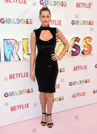 "Amanda Rea arrives at the Los Angeles premiere of ""Girlboss"" at ArcLight Hollywood on"