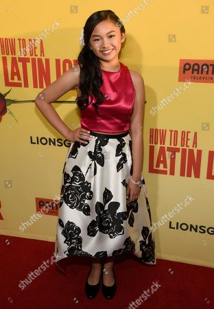 """Stock Image of Nayah Damasen arrives at the Los Angeles premiere of """"How to Be a Latin Lover"""" at the ArcLight Hollywood on"""