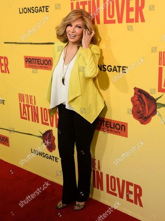 "Raquel Welch arrives at the Los Angeles premiere of ""How to Be a Latin Lover"" at the ArcLight Hollywood on"