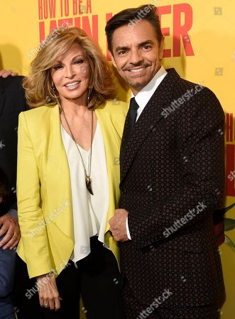 "Raquel Welch, left, and Eugenio Derbez arrive at the Los Angeles premiere of ""How to Be a Latin Lover"" at the ArcLight Hollywood on"