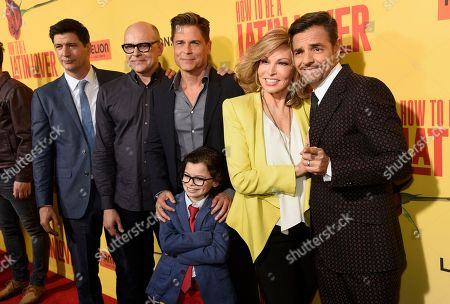 "Ken Marino, from left, Rob Corddry, Rob Lowe, Raphael Alejandro, Raquel Welch and Eugenio Derbez arrive at the Los Angeles premiere of ""How to Be a Latin Lover"" at the ArcLight Hollywood on"