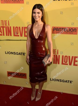 """Maria Elena Davila arrives at the Los Angeles premiere of """"How to Be a Latin Lover"""" at the ArcLight Hollywood on"""