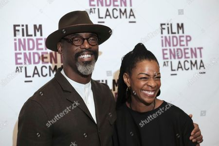 """Isaiah Washington, left, and Jenisa Garland arrive at the Los Angeles premiere of """"I Am Not Your Negro"""" at LACMA on"""