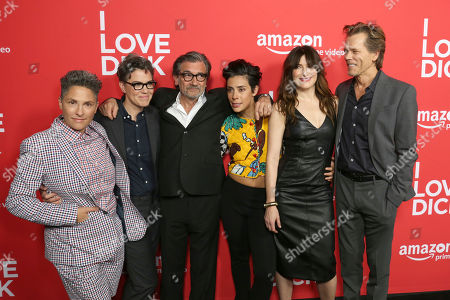"Jill Soloway, from left, Sarah Gubbins, Griffin Dunne, Roberta Colindrez, Kathryn Hahn and Kevin Bacon arrive at the Los Angeles premiere of ""I Love Dick"" Season One at the Linwood Dunn theatre on"